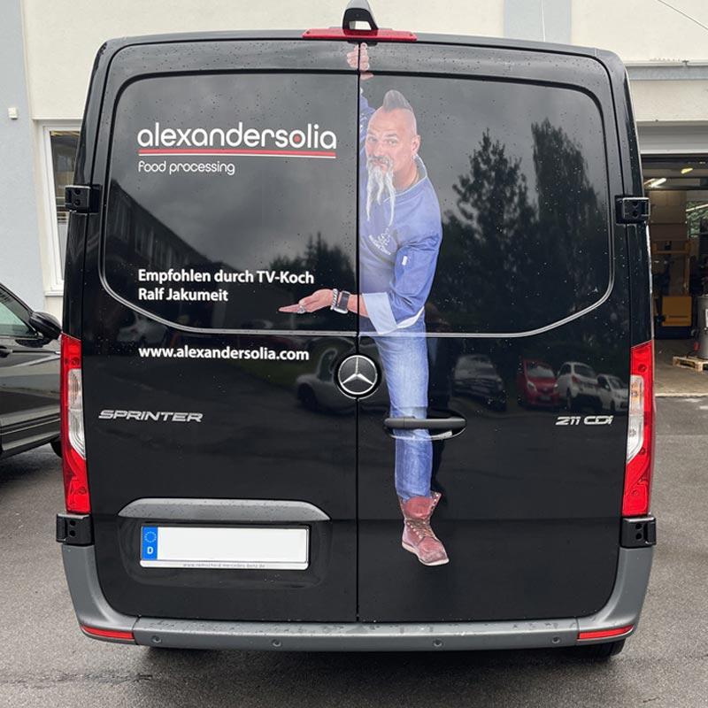 Auto-Werbefolie Sprinter Beklebung Rückseite