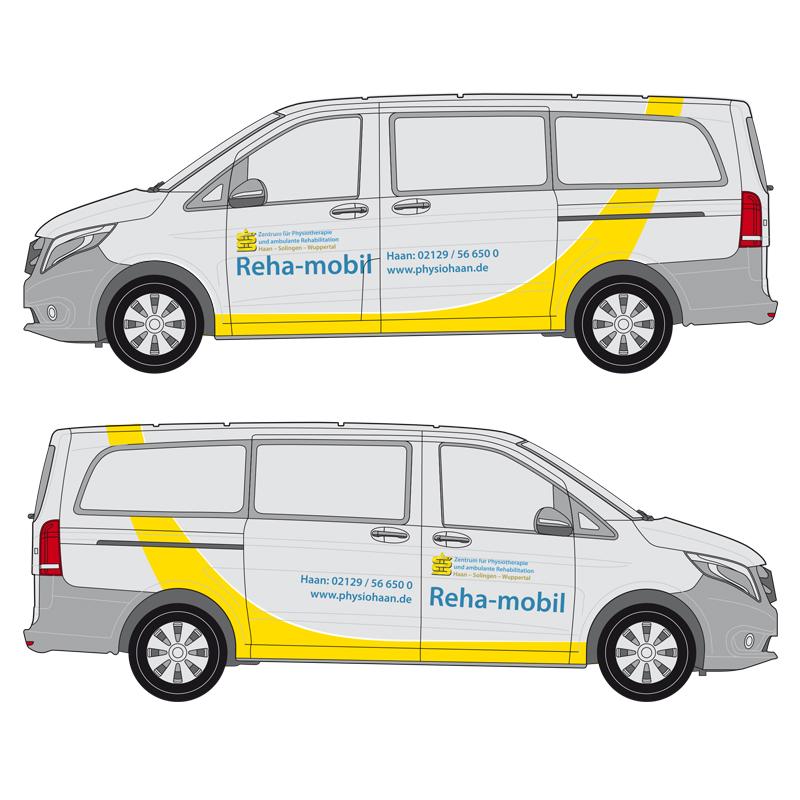 autobeschriftung reha mobil mercedes-benz vito zeichnung